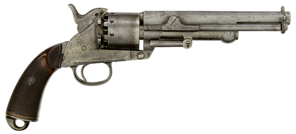 Belgium Brevet Lemat Percussion Revolver, Presented To John D. Conley by Company H 16th Maine Vols Dec. 25th 1863, from The M. Clifford (Cliff) and Lynne B. Young Collection of Confederate Arms