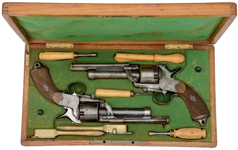 The Only Cased Pair of LeMat Second Model Percussion Revolvers, from The M. Clifford (Cliff) and Lynne B. Young Collection of Confederate Arms
