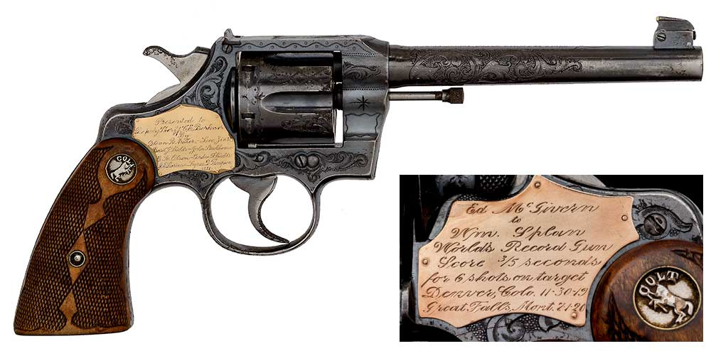 Colt Engraved Flattop Target Model Ordered by Ed McGiven, Used to Set the 3/5 Second World Record