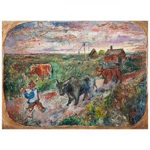 David Burliuk (Russian-American, 1882-1967) Rural Scene